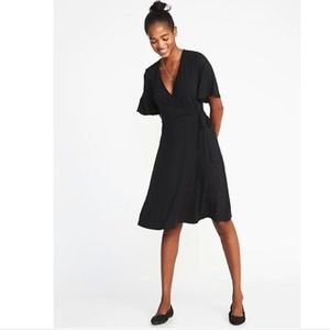 Tie-belt Flutter Sleeve Black Wrap Dress